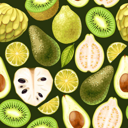 Seamless tropic fruits slices on dark background