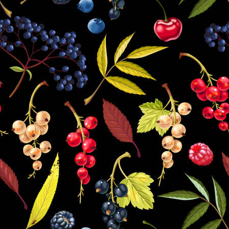 Vector seamless pattern with berries and leaves