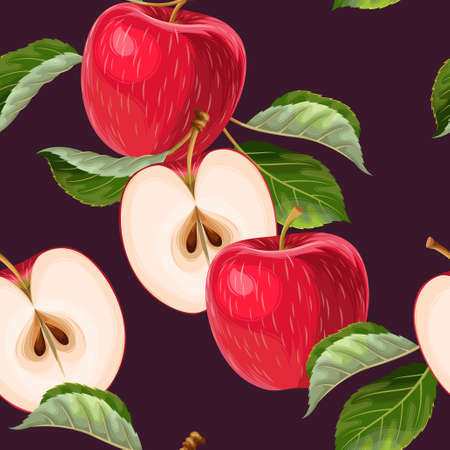 Vector seamless pattern with red apples and leaves on dark background