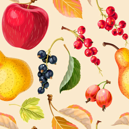 Vector vintage seamless pattern with apples and berries on biege background
