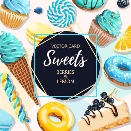 Vector greeting card with high detailed blue and yellow sweets