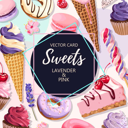 Vector greeting card with high detailed pink and lilac sweets