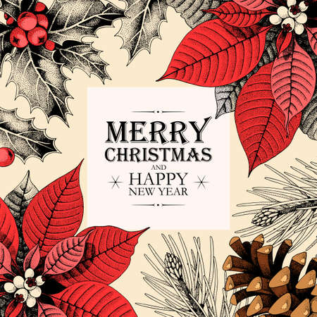 Vector christmas card with holly and pine cones Illustration