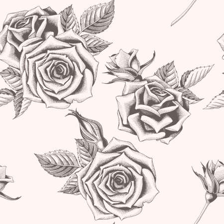 Vector seamless pattern with hand drawn roses, buds and leaves