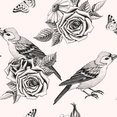 Vector seamless pattern with hand drawn roses and birds