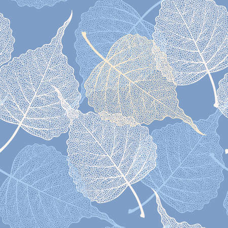 High detailed skeleton leaves vector seamless pattern on blue background Фото со стока - 126066752