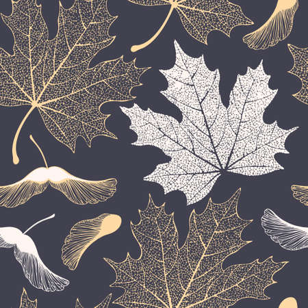 Decorative skeleton maple leaves and seeds vector seamless pattern Фото со стока - 126066753