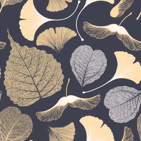 High detailed skeleton leaves vector seamless pattern on dark background Vectores
