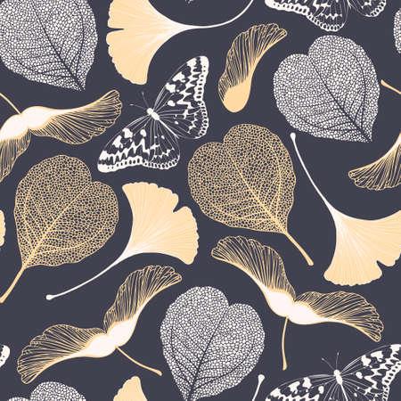 은행나무 잎, 나비, 단풍나무 씨앗이 있는 매끄러운 꽃 패턴입니다. 벡터 우아한 배경