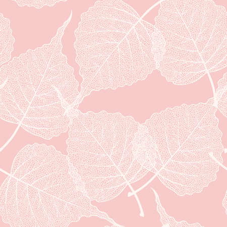 High detailed skeleton leaves vector seamless pattern on pink background
