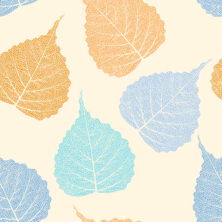 High detailed skeleton leaves vector seamless pattern on white background Фото со стока - 126066760