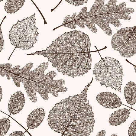 High detailed skeleton leaves vector seamless pattern on white background Фото со стока - 125937737