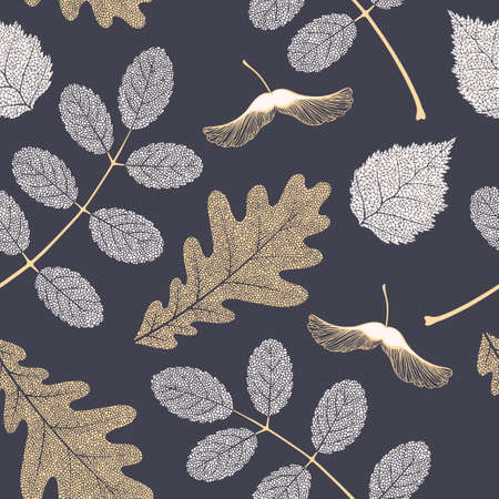 High detailed skeleton leaves vector seamless pattern on dark background Фото со стока - 125937738