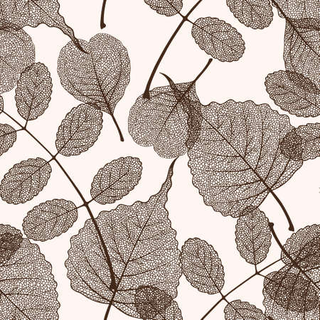 High detailed skeleton leaves vector seamless pattern on white background Фото со стока - 125937739