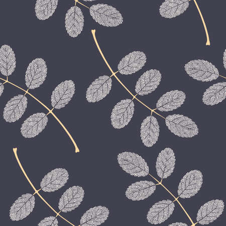 High detailed skeleton leaves vector seamless pattern on dark background Фото со стока - 125937740