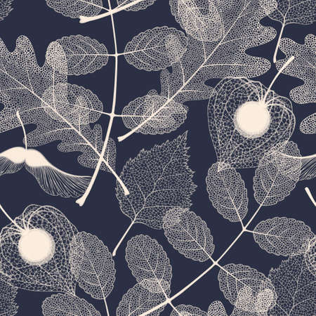 High detailed skeleton leaves vector seamless pattern on dark background Фото со стока - 115763985