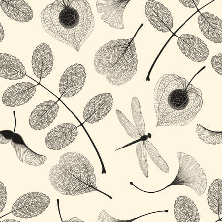 High detailed skeleton leaves vector seamless pattern on white background