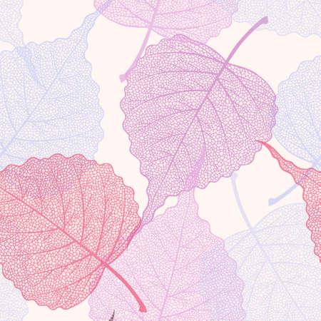 High detailed skeleton leaves vector seamless pattern on white background