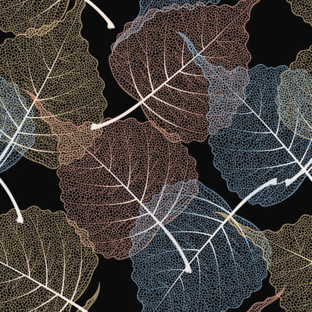 High detailed skeleton leaves vector seamless pattern on black background Иллюстрация