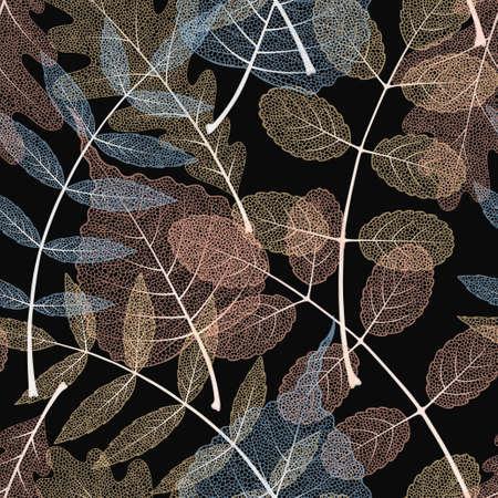 High detailed skeleton leaves vector seamless pattern on dark background Иллюстрация
