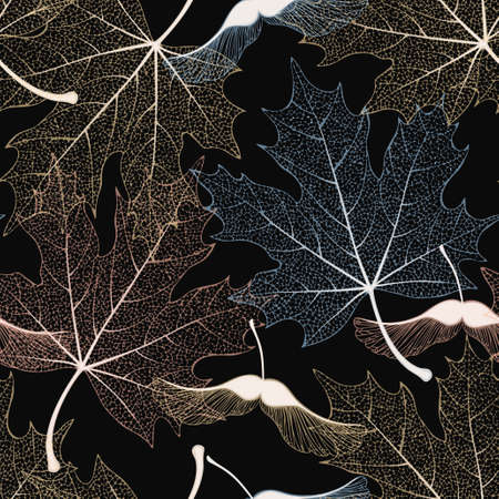 Decorative skeleton maple leaves and seeds vector seamless pattern