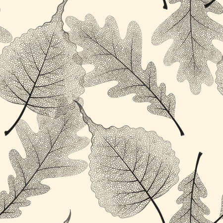 High detailed skeleton leaves vector seamless pattern on white background Фото со стока - 125685643