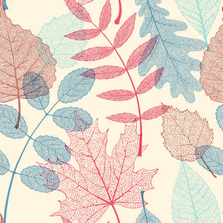 High detailed skeleton leaves vector seamless pattern on white background Фото со стока - 125685645
