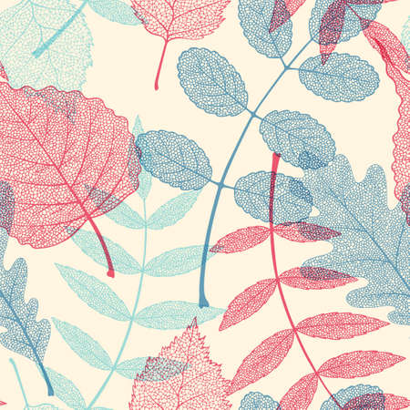 High detailed skeleton leaves vector seamless pattern on white background Фото со стока - 125685646