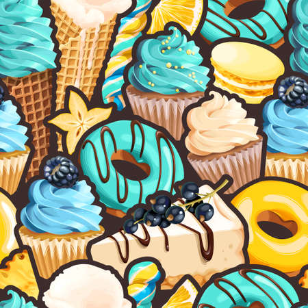 Seamless pattern with blue and yellow sweets