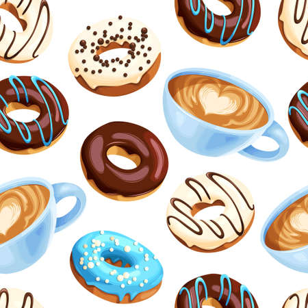 Vector seamless pattern with coffee cups and varicolored glazed donuts