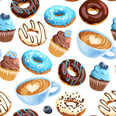 Vector seamless pattern with coffee cups, varicolored glazed donuts and cupcakes