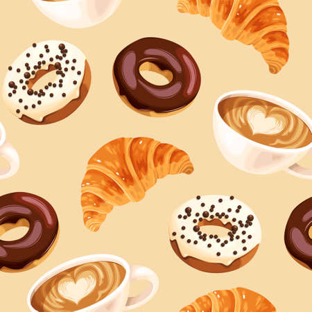 Vector seamless pattern with coffee cups, varicolored glazed donuts and croissants 向量圖像