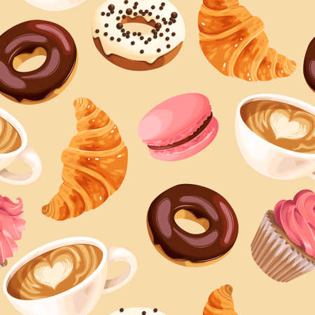 Vector seamless pattern with coffee cups, varicolored glazed donuts, cupcakes, macaroons and croissants 向量圖像