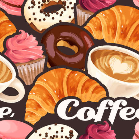 Vector seamless pattern with coffee cups, varicolored glazed donuts, cupcakes, macaroons and croissants Ilustração