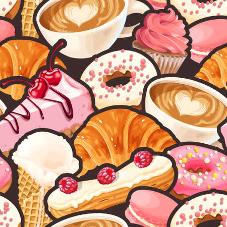 Vector seamless pattern with coffee cups, varicolored glazed donuts, cupcakes, macaroons and croissants Illustration