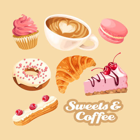 Big vector set of coffee and different pink and white sweets Stock Illustratie