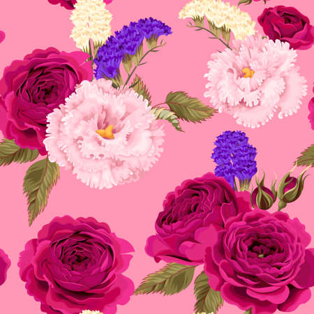 Vector seamless pattern with eustoma, roses and dry flowers on pink background