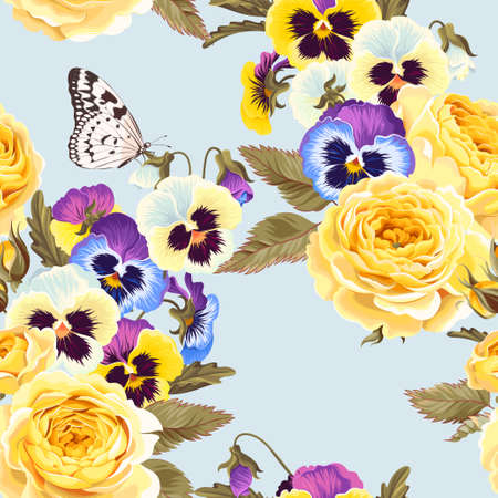 Vector seamless pattern with high detailed yellow roses and varicolored pansies Vectores