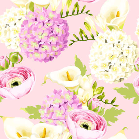 Vector seamless pattern with high detailed hydrangea and white flowers