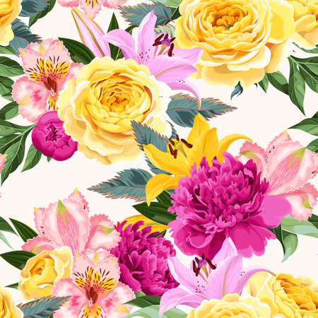 Seamless vector pattern with pink and yellow flowers on white background Illustration