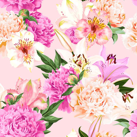 Seamless vector pattern with pink and white flowers on pink background Illustration