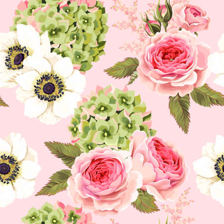 Vector seamless pattern with roses, anemone and hydrangea