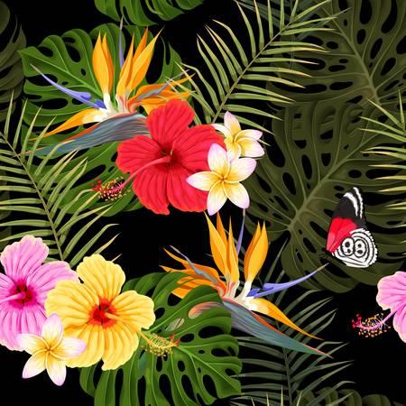Nahtloses Muster mit Hibiskus und Palmblättern