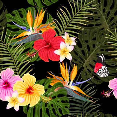Seamless pattern with hibiscus and palm leaves