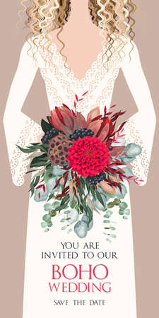 Vector card with bride and wedding bouquet