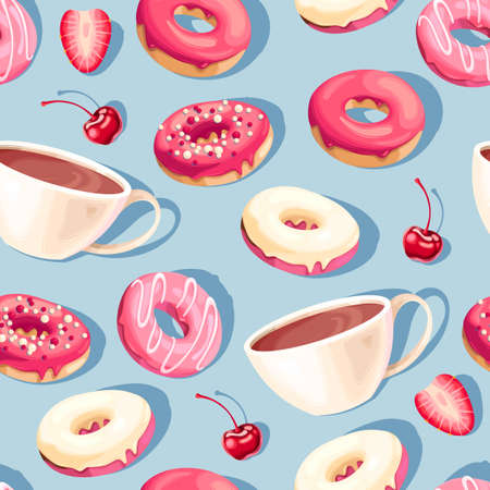 Seamless pattern with high detail glazed donuts and coffee cups on blue background