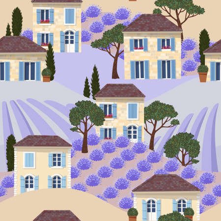 Vector seamless pattern with white french houses Banque d'images - 136001004
