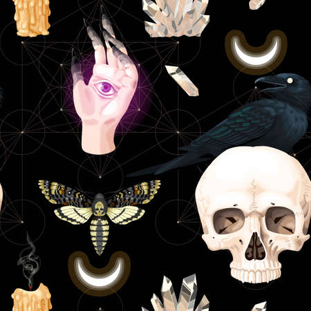 Seamless pattern with raven and human skull Vettoriali