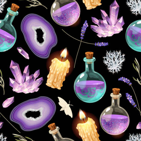 Magic seamless pattern with glass flask and candle