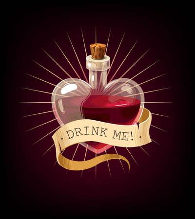 Vector Valentines Day card with love elixir Foto de archivo - 138191317